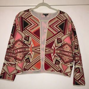 Geo Embroidered Jacquard Jacket- TOPSHOP